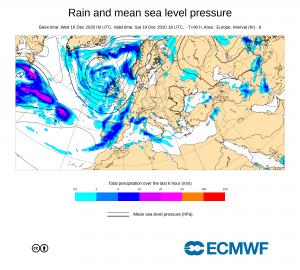 Pronóstico ECMWF de precipitación para el Sábado 18 diciembre